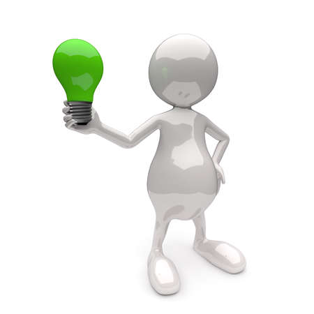 3D People with Lighting Bulb Green on White Background photo
