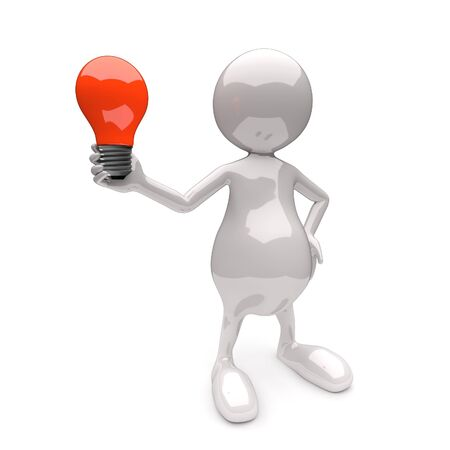 3D People with Lighting Bulb Red on White Background photo
