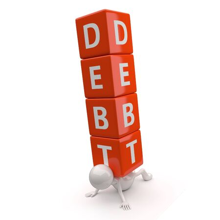 3D People with Word Debt on White Background Stock Photo - 17745437