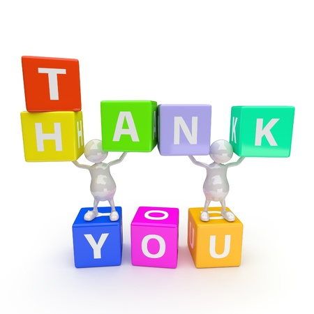3D People with Word Thank You on White Background photo