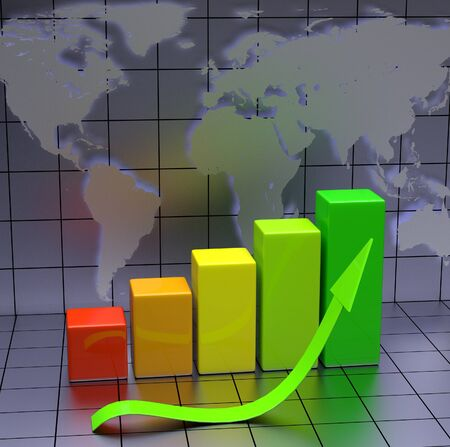 Business Chart With Green Arrow and World Map photo