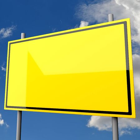 Road Sign Big Yellow Blank with Blue Sky Background photo