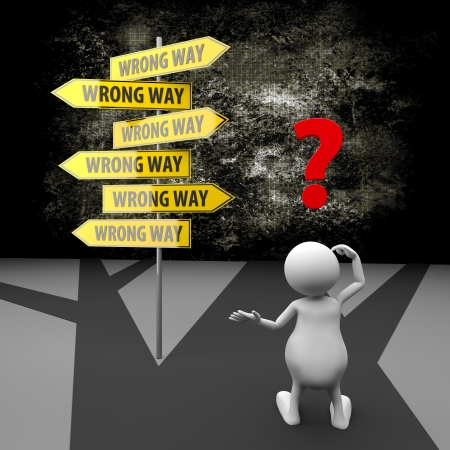 confused cartoon: 3d People with road sign wrong way on grunge background Stock Photo