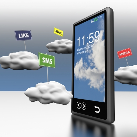 Smart phone Cloud computing with clouds and road signs photo