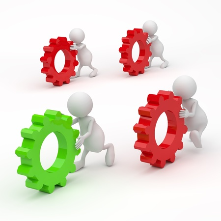 3D People with Gears Success concept on white background