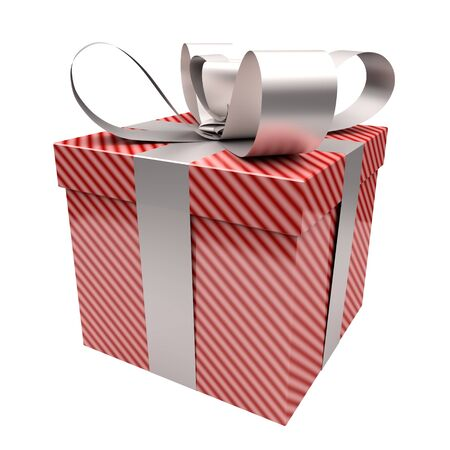 Gift box with red lines on white background photo