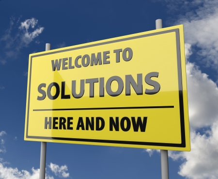 Road sign wit words Welcome to solutions on blue sky background photo