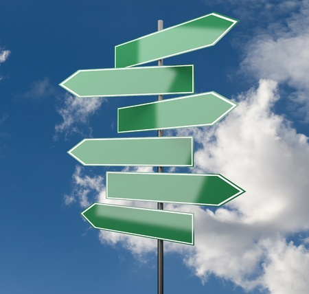 road assistance: Road Signs green on Sky Background with copy space