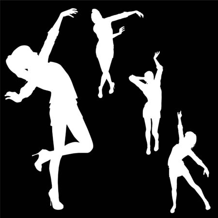 dancing girl silhouette four different poses on black background Vector