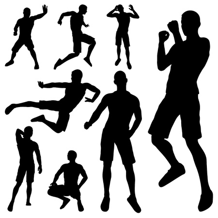 man fighting silhouette on white background