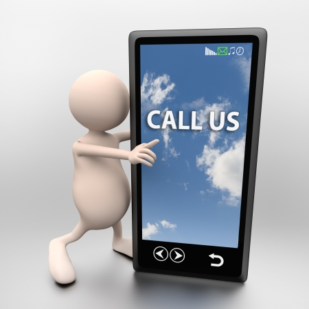 3D People with mobile phone and words call us on light background photo