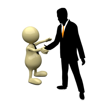 3D People handshake with businessman silhouette photo