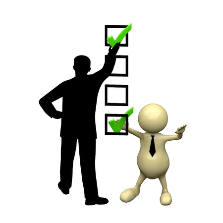 3D people with checkmark ok and businessman silhouette photo