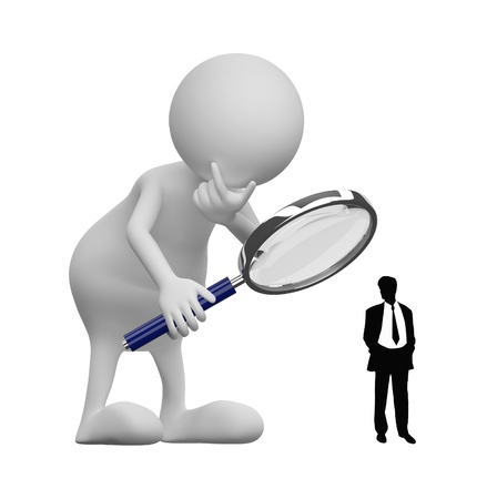 verification: 3D people with Magnifying Glass and businessman silhouette on white background