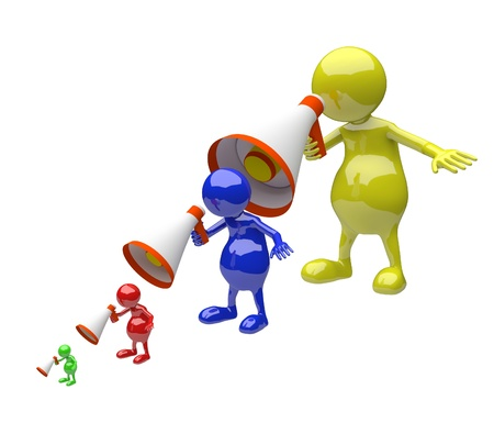 reproach: 3D people with megaphone on white background Stock Photo