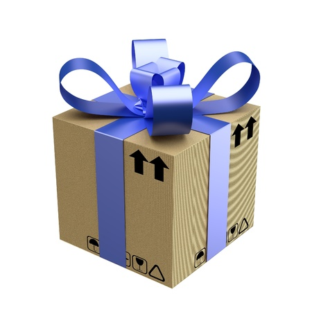 cardboard gift box with blue ribbon on white background photo