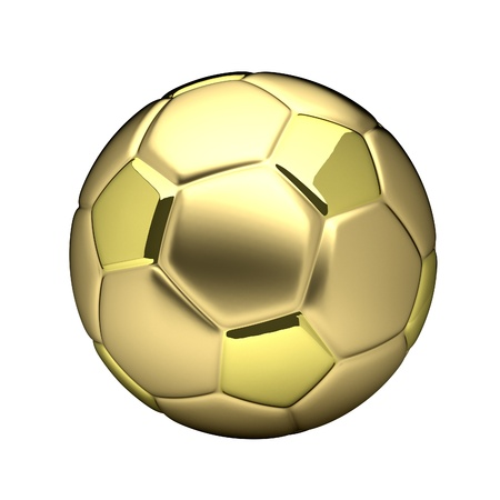 golden football ball isolated on white background photo