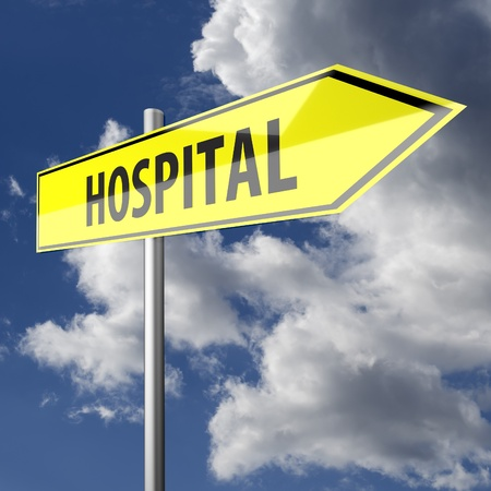 Road sign with word Hospital on blue sky background photo