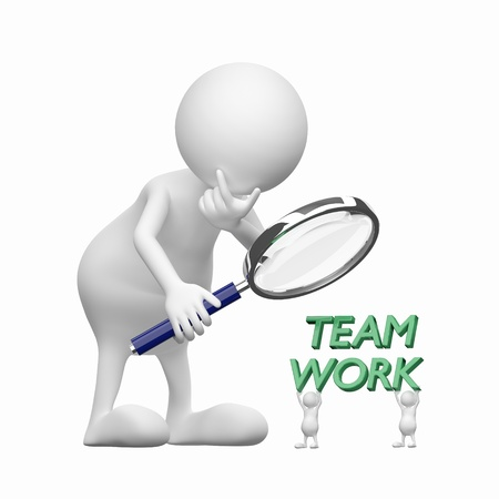3D people with Magnifying Glass and word teamwork photo