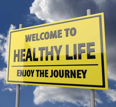 Road sign with words Welcome to healthy life on blue sky background photo