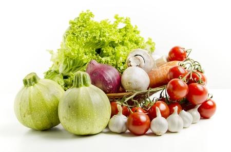 fresh vegetable mix on white background photo