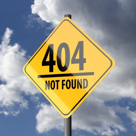 oportunity: Road sign Yellow with words 404 Not Found on blue sky background Stock Photo