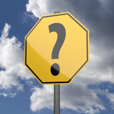 oportunity: Road sign Yellow with Question Mark on blue sky background Stock Photo