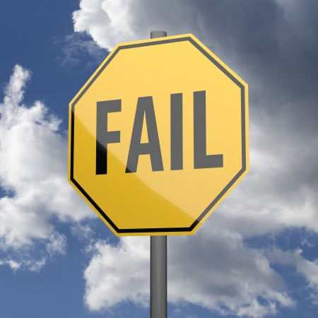 Road sign Yellow with word Fail on blue sky background Stock Photo