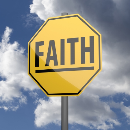 oportunity: Road sign Yellow with word Faith on blue sky background