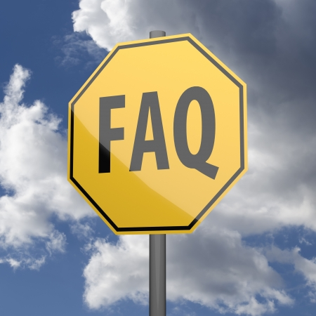 Road sign Yellow with word FAQ on blue sky background photo