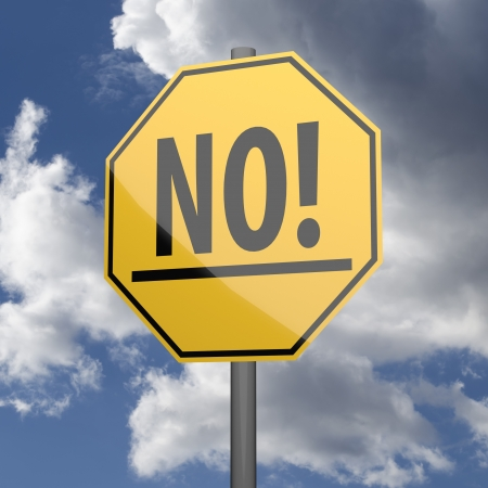 Road sign Yellow with word No on blue sky background Stock Photo