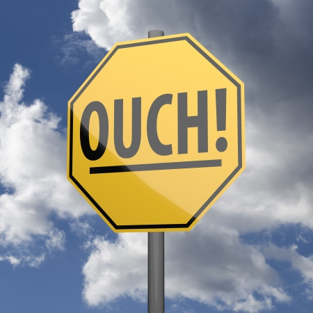 ouch: Road sign Yellow with word Ouch on blue sky background
