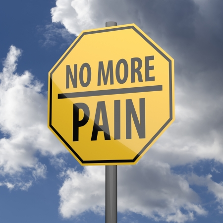 Road sign Yellow with words No More Pain on blue sky background