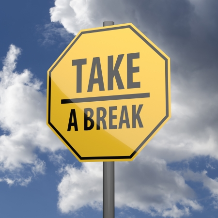 oportunity: Road sign Yellow with words Take a Break on blue sky background Stock Photo