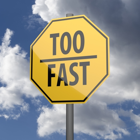 too fast: Road sign Yellow with words Too Fast on blue sky background Stock Photo