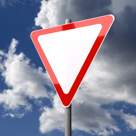 Road sign White Red Blank with Copy Space on blue sky background