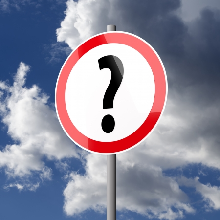 Road sign White Red with Question Mark on blue sky background Stock Photo