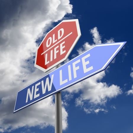 New Life and Old Life Words on Red and Blue Road sign Stock Photo