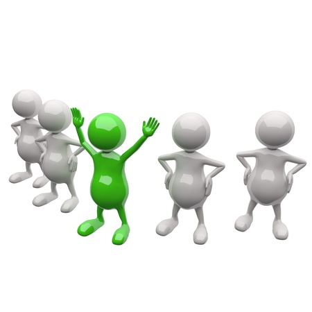 3D People team with leader on white background photo