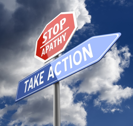 apathy: Stop Apathy and Take Action Words on Red Blue Road sign Stock Photo