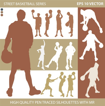 Basketball players vector silhouettes Vector