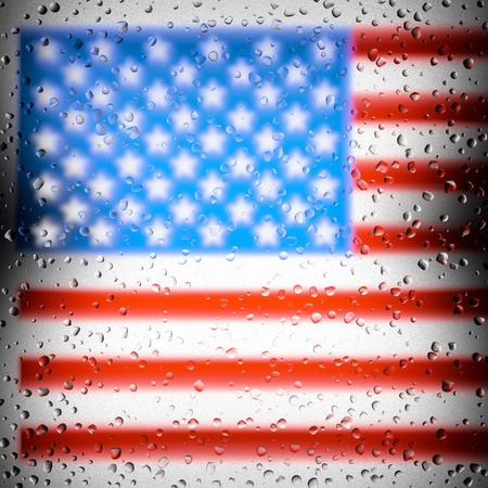 american flag behind dirty glass window with water rain drops photo