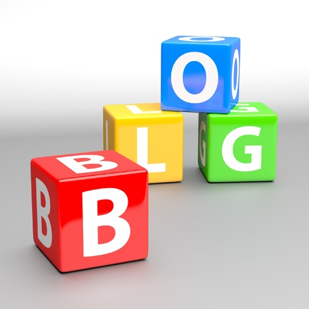blog word made of colorful toy blocks photo