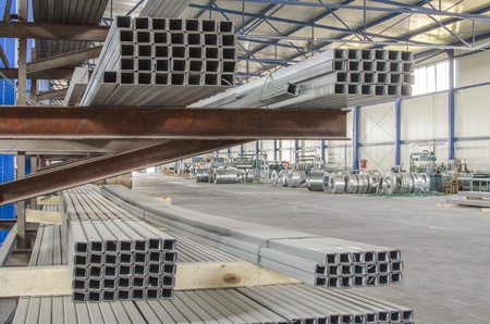 sheet metal tin profiles in production hall Stock Photo - 21892920