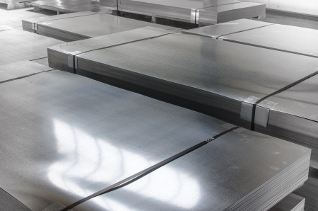 steel sheet: sheet tin metal in production hall