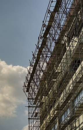 scaffolding on blue sky background photo