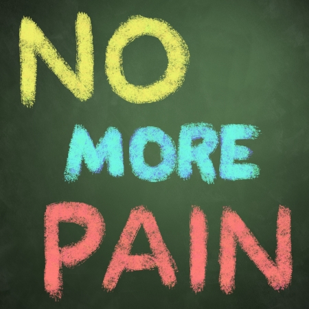 no more pain words on green chalkboard background Stock Photo
