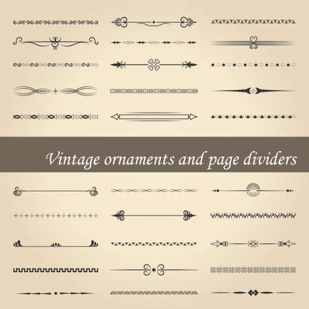 vintage ornaments and page dividers Vector