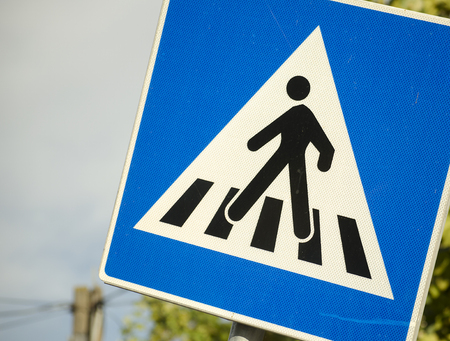 pedestrian crossing sign close up photo