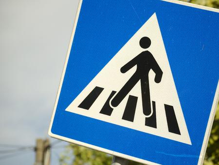 pedestrian crossing sign close up
